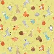 Forest by Makower UK - 6722 - Scattered Animals on Pale Green  - 2170_G - Cotton Fabric